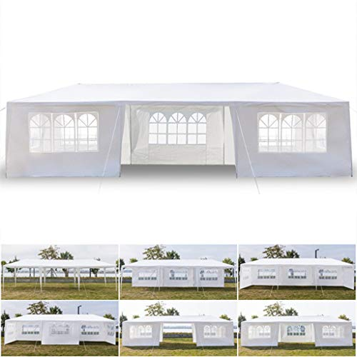 HWJ 10'x30' Outdoor Canopy Portable Lightweight Foldingwith 7 Removable End Side Walls Party Wedding Tent Instant Canopies Garden Gazebo Pavilion Cater Events,White
