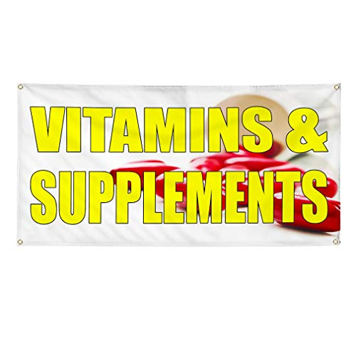 Vinyl Banner Sign Vitamins and Supplements White Vitamins Marketing Advertising White - 60inx144in (Multiple Sizes Available), 10 Grommets, Set of 2