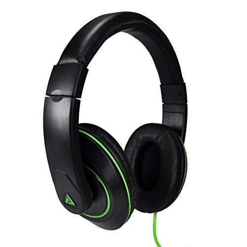 Audio Council Premier Stereo Over-Ear Headphones Black/Green - DJ Style