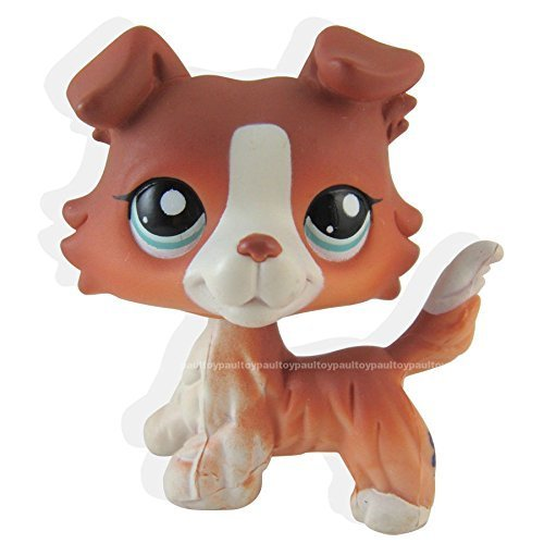 #1542 Littlest Pet Shop Red Brown Collie Dog Puppy Blue Eyes Figure LPS Toy (Littlest Pet Shop Brown Cat)