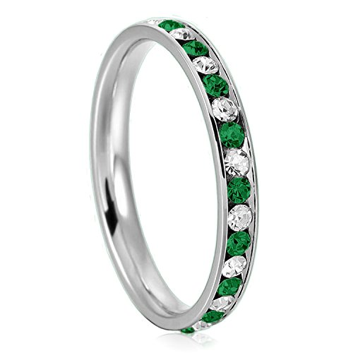 3mm Stainless Steel Green Emerald Color & White Crystal Channel Eternity Wedding Band Stackable Ring, Size - Collection Tiffany Infinity