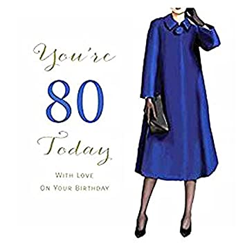 Large Luxury Female 80th Birthday Card By Amadehand