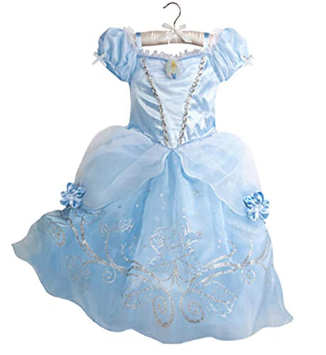 Rick Rogers New Girls Summer Dress Kids Cindrella Snow White Cosplay Costume Baby Girl Princess Dress Blue 5 -