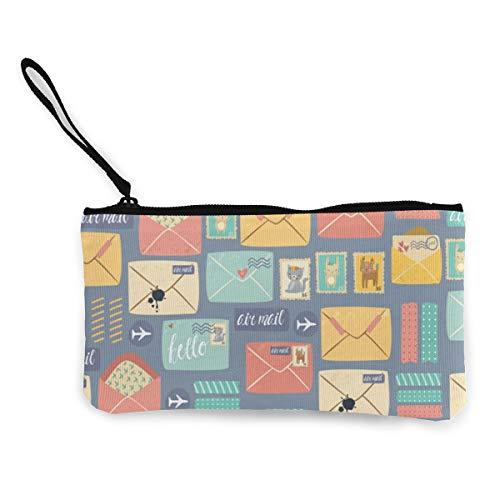 Postal Stationery Pattern Canvas Coin Purse Mini Wallet Zipper Storage Bag