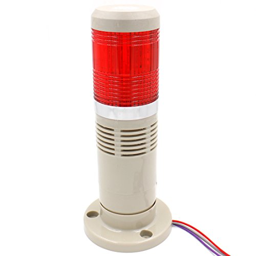 (Baomain Alarm Warning Continuous Light 110V AC Industrial Buzzer Red LED Signal Tower Lamp)