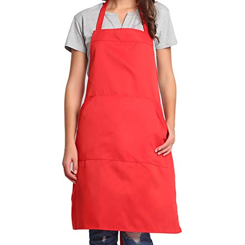 BIGHAS Adjustable Bib Apron with Pocket Extra Long Ties for Women Men, 13 Colors, Chef, Kitchen, Home, Restaurant, Cafe, Cooking, Baking, Gardening (Red)