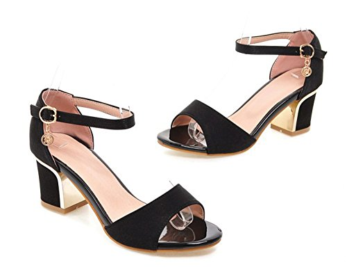 Aisun Donna Semplice Open Toe Fibbia Tacco Medio Scarpe Sandali Con Cinturini Alla Caviglia Neri