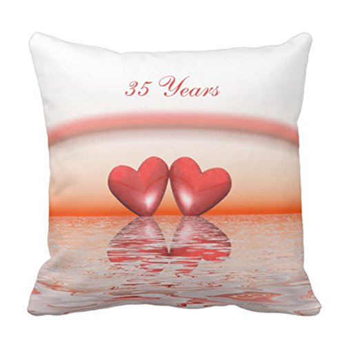 Emvency Throw Pillow Cover 35Th Anniversary Coral Hearts Decorative Pillow Case Home Decor Square 20 x 20 Inch Cushion Pillowcase