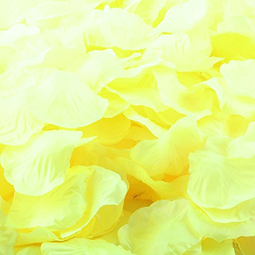 LEFV™ 1000pcs Silk Rose Petals Artificial Flower Wedding Party Vase Decor Bridal Shower Favor Centerpieces Confetti Decorations (40 Colors for Choice)- Yellow