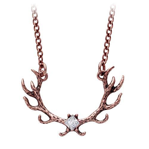 - SENFAI Santa Elk Antlers Antique Bronze Antlers Necklace (Antique Copper)