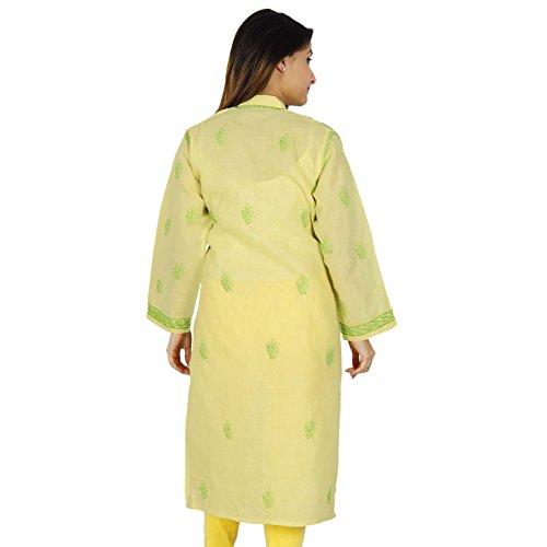 Casual Top túnica de regalo para ella diseñador Chikan bordado Kurta Mujeres Kurti Beige