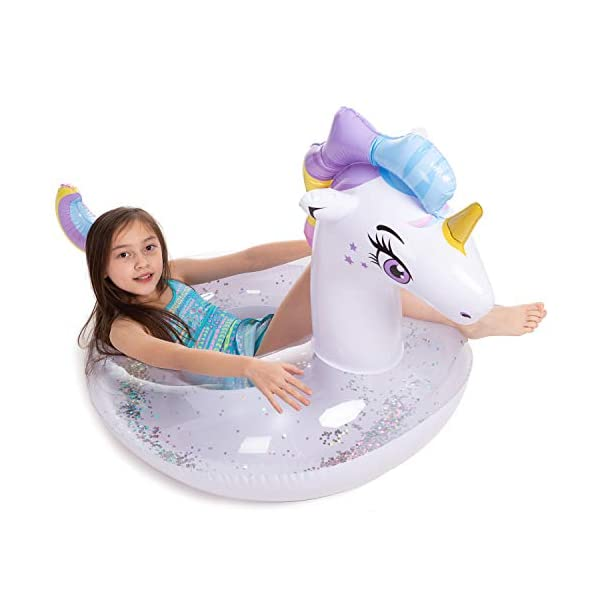 JOYIN Inflatable Unicorn Pool Float with Glitters, Tubes for Floating, Fun Beach Floaties, Pool Toys, Summer Party… 5