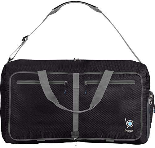 "4157eOb%2Bo0L - Bago 60L Packable Duffle bag - 23"" Foldable Travel Duffel bag (Black)"
