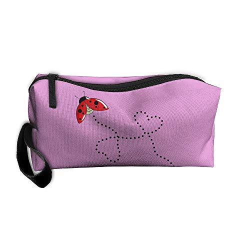 Cosmetic Bags With Zipper Makeup Bag Heart Ladybug Middle Wallet Hangbag Wristlet Holder]()