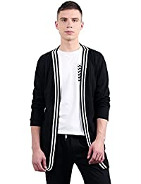 Christmas Men Stripe Placket Open Front Collar Longline Long Sleeves Cardigan
