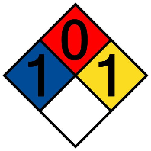 ComplianceSigns Vinyl NFPA 704 Hazmat Diamond Label with 1-0-1-0 Rating, 10 x 10 in. Multi Color (Hazardous Tags Material)