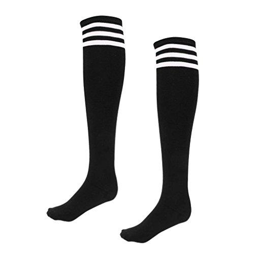 Lovoski ランニング ゴルフ スポーツソックス 綿 ストライプ柄 ハイソックス ニーハイ 長靴下 弾力性 全10色 3サイズ