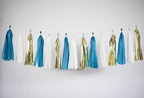 Amazon.com: Ivory Gold Teal Tassel Garland, Teal Garland ...