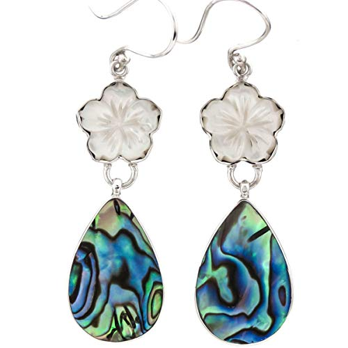 - 1 5/8'' Flower Mother of Pearl Shell PAUA Abalone 925 Sterling Silver Earring YE-1540