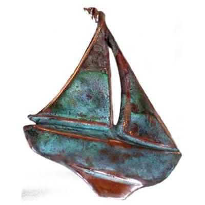 Nice Verdigris Patina Solid Brass Sailboat Pin free shipping