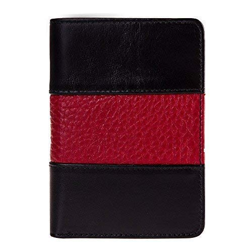 Fire Fighter Badge Wallet, All Leather, Fits Any Shape Badge with a Pin Back- Black Leather with Thin Red -
