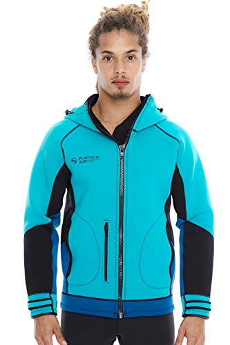 (Unisex PRO Neoprene Jacket Wetsuit Hoodie - Waterproof Wind Sailing Fishing Surf Jackets for Men and Women (Aqua, M, DH))