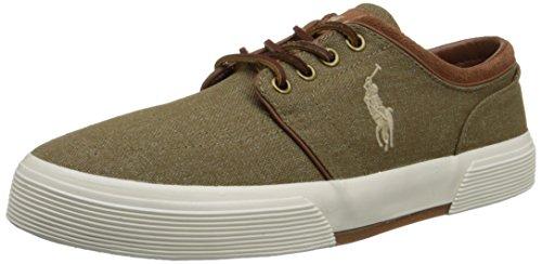 Polo Ralph Lauren Men's Faxon Low Fashion Sneaker, Khaki, 8 D US