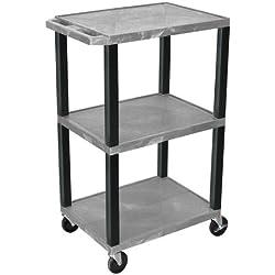Luxor/H.Wilson 3-Shelf Tuffy Cart, Gray (WT42GY)