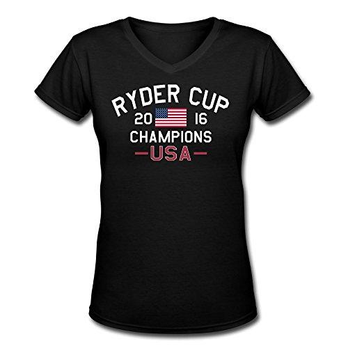 Alb2d USA 2016 Ryder Cup Champions V Neck T Shirts Womens Black ()