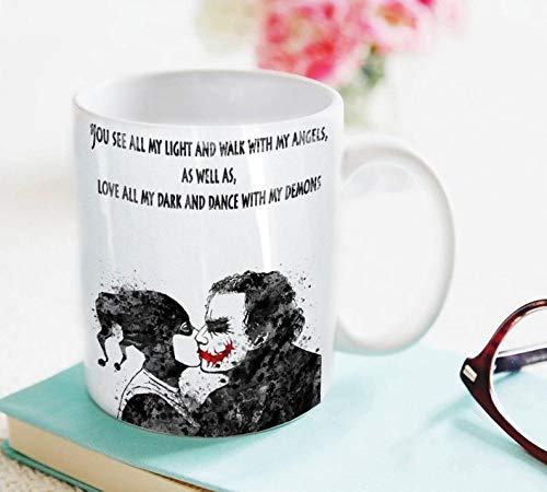 Joker and Harley Quinn Inspired Quote Mug Watercolor Mug Fine Art Mug Art Super Hero Mug Art Home Decor Cup Coffee Mug Mug Cup 11OZ Gift Holiday -