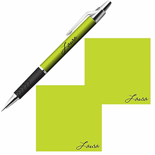 Personalized Name Sticky Notes and Pen Gift Set - Custom Stationery Paper Memo Pads - Office Business School Party Supplies (Lime)