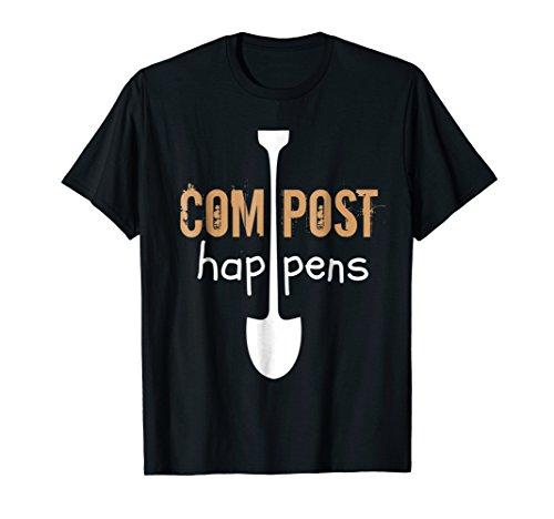 Compost Happens White Shovel Garden Humor T-Shirt