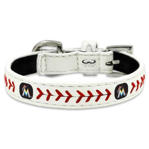Florida Marlins Logos - MLB Miami Marlins Classic Leather Baseball Dog Collar (Small)