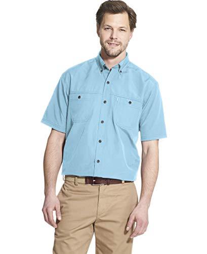 G.H. Bass & Co. Men's Explorer Short Sleeve Fishing Shirt Solid Button Pocket, Blue Topaz, Medium