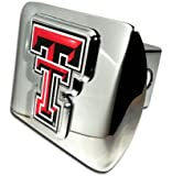 """Texas Tech Red Raiders """"Bright Polished Chrome with Color """"TT"""" Emblem"""" NCAA College Sports Trailer Hitch Cover Fits 2 Inch Auto Car Truck Receiver"""