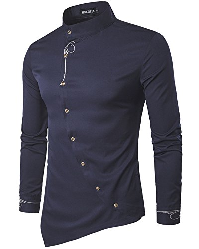 Any Time Chino Pant (Men's Casual Long Sleeve Oblique Button Down Dress Shirt Tops with Embroidery Navy Small)