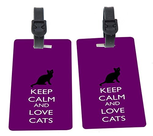 Keep Calm and Love Cats Purple Color Design Plastic Flexi Luggage Identifier Tags + Strap Closure by Rikki Knight