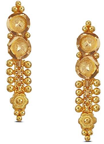 Satfale Jewellers Indian Handmade Solid 22K 22 Carat 916 Stamped Fine Gold Long Design Earrings ()