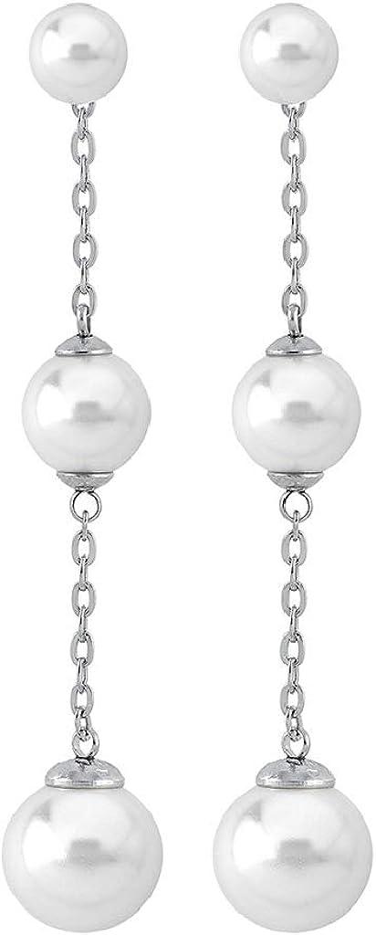 Majorica 15991.01.2.010.1 Pendientes Mujer Plata Perla 6/8/10 mm Medida 6 cm