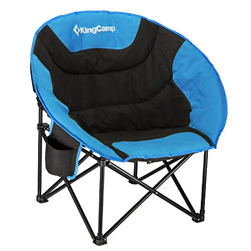 KingCamp Oversized Moon Chairs Padded Seat Supports 300lbs for Adults, Comfy Portable Folding Saucer Chair with Cup Holder and Carry Bag, Blue Green and Red