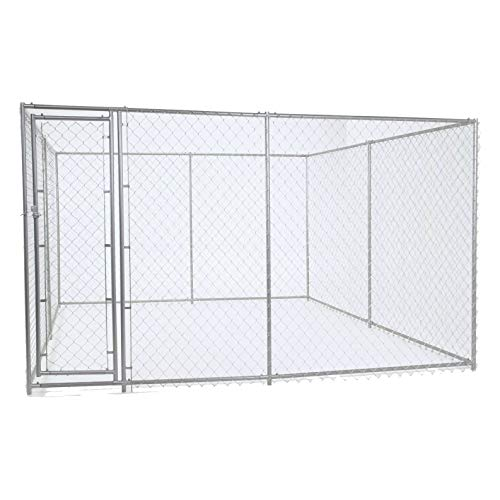 Chain Link Dog Kennel - Lucky Dog Outdoor Heavy Duty Pet Kennel - This Pet Cage System is Perfect For Containing Larger Dogs and Small Animals. Galvanized chain link doesn't kink or tangle. Two setup options (5'W x 15'L x 6'H or 10'W x 10'L x 6'H) (Commercial Dog Kennel)
