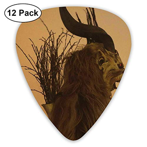 Folklore Christmas Changing Mask of Krampus Bendy Ultra Thin 0.46 Med 0.73 Thick 0.96mm 4 Pieces Each Base Prime Plastic Jazz Mandolin Bass Ukelele Guitar Pick Plectrum Display ()