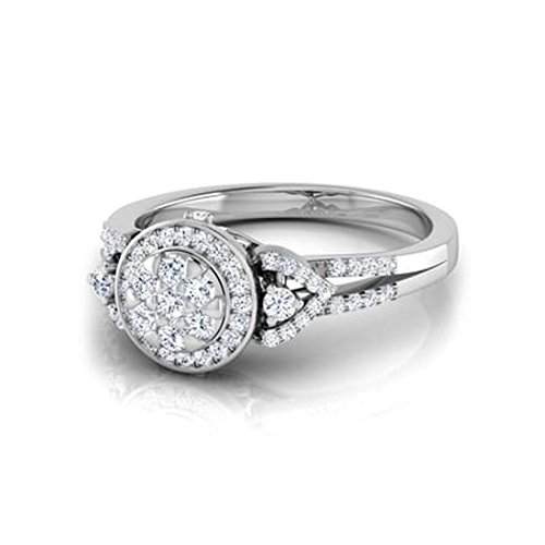 14K Or blanc, 0,48carat Diamant Taille ronde (IJ | SI) en diamant