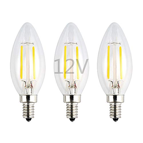 OPALRAY Low Voltage 12Volts Input LED Candle Bulb, Natural White Daylight, 2W 200Lm, Dimmable, E12 Small Base, Clear Glass Torpedo Tip, 25W Incandescent Equivalent, for 12V-24V AC/DC Power, 3 Pack ()