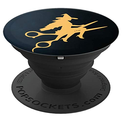 Witch Riding Barber Scissors Hair Stylist Haircut Halloween - PopSockets Grip and Stand for Phones and Tablets]()
