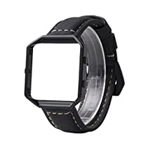 Wearlizer Bands Accessories, Premium Suede Leather Replacement Strap with Black Metal Frame and Buckle for Fitbit Blaze Special Edition Gun Metal - Black Large