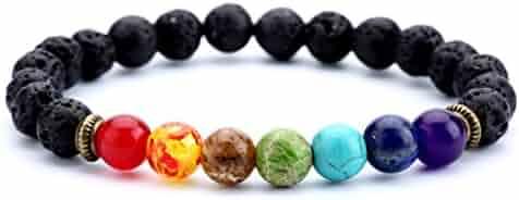 Hamoery Men Women 8mm Lava Rock 7 Chakra Aromatherapy Essential Oil Diffuser Bracelet Elastic Natural Stone Yoga Beads Bracelet Bangle-21001