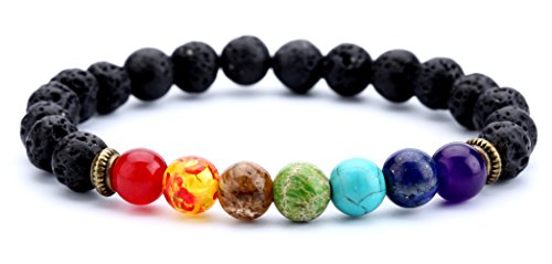 Hamoery Men Women 8mm Lava Rock 7 Chakra Aromatherapy Essential Oil Diffuser Bracelet Elastic Natural Stone Yoga Beads Bracelet Bangle-21001