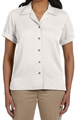 Devon & Jones Women's Coconut Button-Down Camp Shirt, M, Creme (Shirt Camp Rayon)
