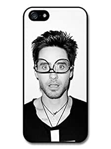 Jared Leto Wearing Glasses Black & White Portrait case for iPhone 5 5S A3648 by runtopwell